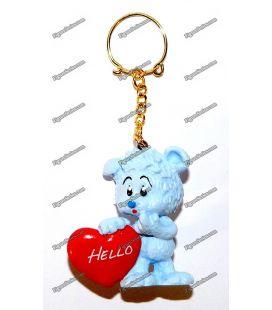 Porte clés SCHLEICH figurine OURSON bleu coeur HELLO amour