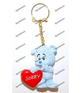 Porte clés SCHLEICH figurine OURSON bleu coeur SORRY amoureux