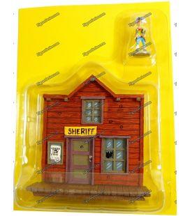 La casa y la oficina del Sheriff de la ciudad estatuilla LUCKY LUKE PLASTOY