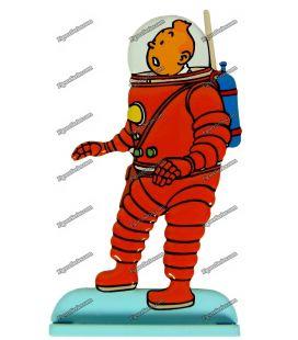 Beeldje scuba lood Kuifje mannen op de maan