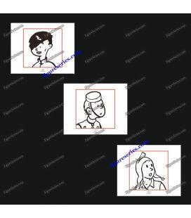 Tríptico de 3 ex libris amigos de TINTIM