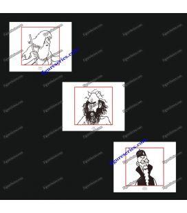 Tríptico de 3 ex libris Tintín el sabio