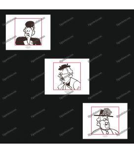 Triptiek van 3 ex libris Kuifje les Dames in hoeden
