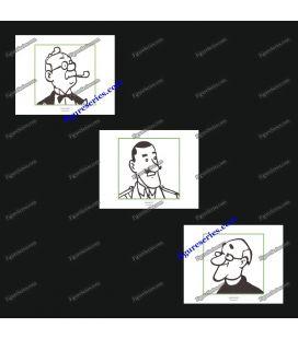 Tríptico de 3 ex libris Tintín y los hombres de los cigarros del Faraón