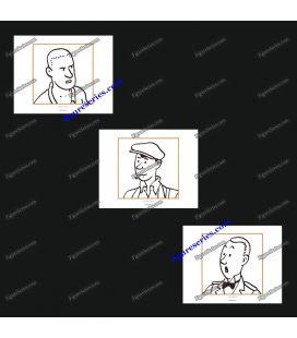 Tríptico de 3 ex libris Tintín y los personajes secundarios