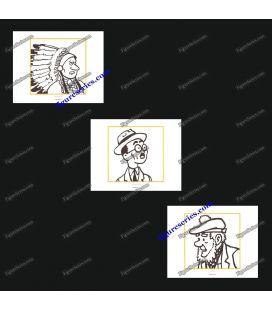 Trittico di 3 ex libris aborigene e TINTIN