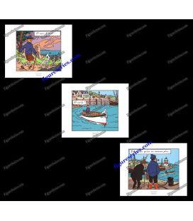 Tríptico de 3 ex libris Tintín la isla negra