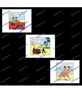 Triptyque de 3 ex libris TINTIN les DUPOND au Pays de l'or noir