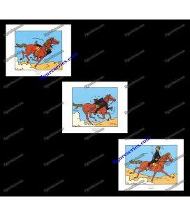 Tríptico de 3 ex libris TINTIN capitán Haddock a caballo