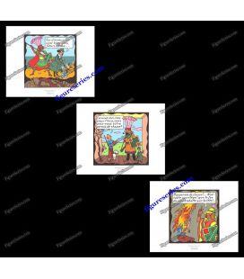 Triptiek van 3 ex libris Kuifje van de tempel van de zon
