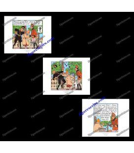 Triptiek van 3 ex libris Kuifje Ottokar scepter