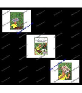 Tríptico de 3 ex libris TINTIN cigarros del Faraón