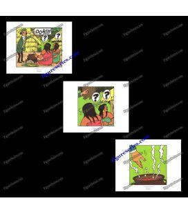 Tríptico de 3 ex libris Tintín y los pícaros