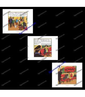 Triptiek van 3 ex libris Kuifje Vlucht 714 naar Sydney