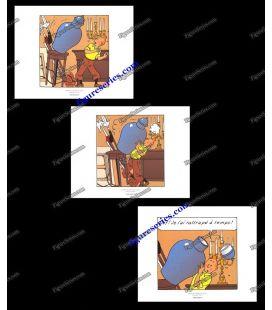 Tríptico de 3 ex libris Tintín el secreto del unicornio