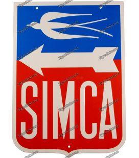 Piastra in lamiera logo automobilistica francese SIMCA