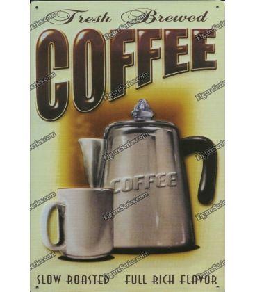 plaque fresh brewed coffee en metal