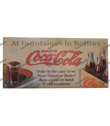 plaque coca cola fountains or bottles en metal
