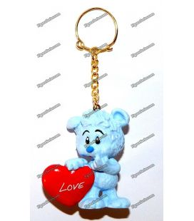 SCHLEICH figurine blue Teddy bear key ring heart LOVE