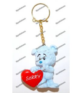 SCHLEICH figurine Pooh key ring blue heart SORRY love