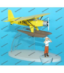 Yellow plane TINTIN seaplane metal Bellanca 31-42 Pacemaker