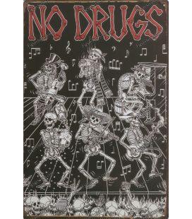 placa metálica de drogas núm.