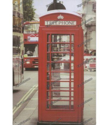 Plaque TELEPHONE LONDRES en metal