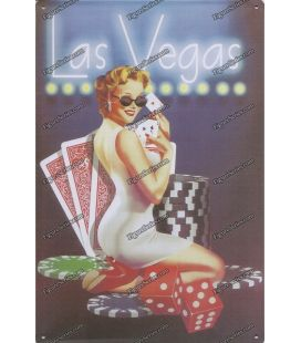 Plaque PIN UP LAS VEGAS en metal