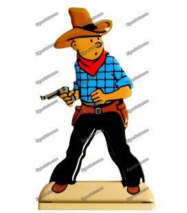 Figurine TINTIN cow boy en Amérique plomb