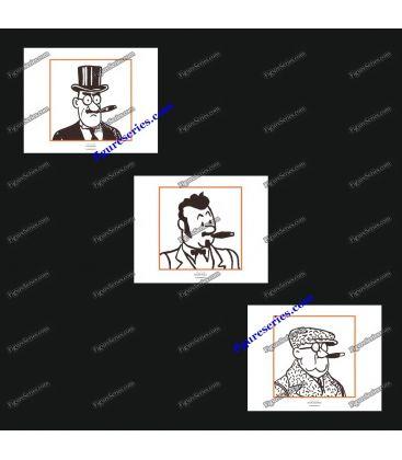 Triptyque de 3 ex libris TINTIN les notables