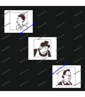 Tríptico de 3 ex libris TINTIN conserjes
