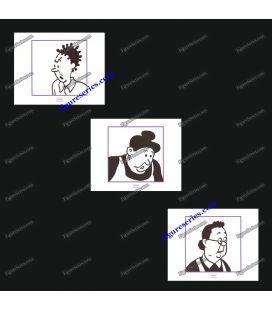 Triptych of 3 ex libris TINTIN janitors
