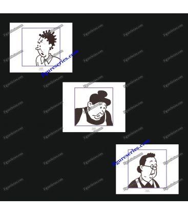 Triptyque de 3 ex libris TINTIN les concierges