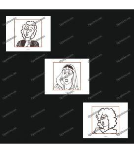 Tríptico de 3 ex libris mulheres de TINTIM