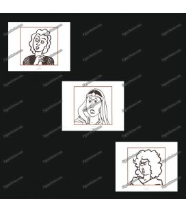 Triptiek van 3 ex libris vrouwen van Kuifje