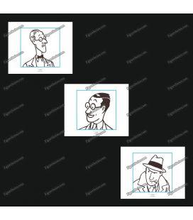 Tríptico de 3 ex libris TINTIN periodistas y la prensa