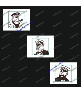 Tríptico de 3 ex libris TINTIN comandantes navegadores