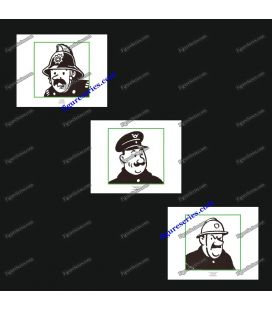 Triptych of 3 ex libris TINTIN and men in uniforms