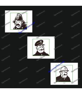 Triptychon der 3 ex-Libris, Tim und STRUPPI und Männer in Uniformen