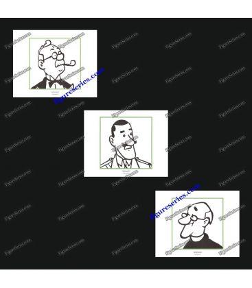Triptyque de 3 ex libris TINTIN et les hommes des Cigares du Pharaon