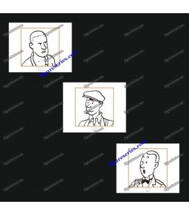 Triptych of 3 ex libris TINTIN and the secondary characters