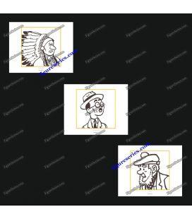 Triptiek van 3 ex libris Kuifje en Aboriginal
