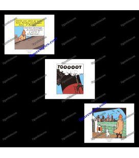Triptiek van 3 ex libris Kuifje in Amerika