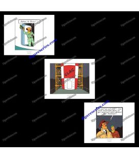 Tríptico de 3 ex libris TINTIN Objectif Lune