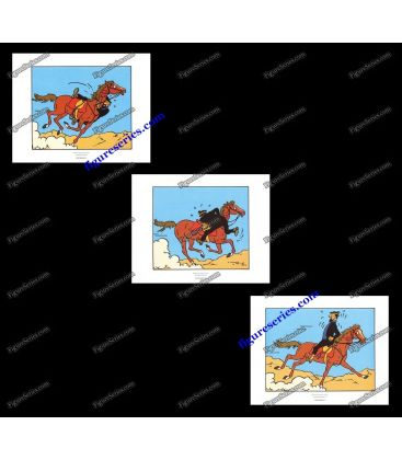 Triptyque de 3 ex libris TINTIN le Capitaine Haddock à cheval