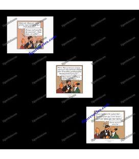 Triptiek van 3 ex libris Kuifje rode Rackham schat
