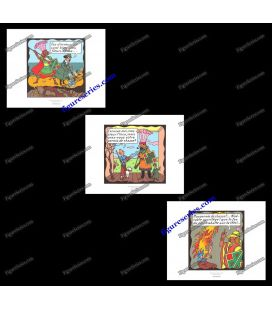 Triptych of 3 ex libris TINTIN the Temple of the Sun
