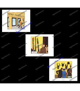 Triptiek van 3 ex libris Kuifje oor einden