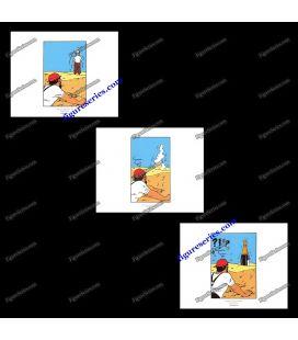 Triptiek van 3 ex libris Kuifje de krab met de gulden scharen