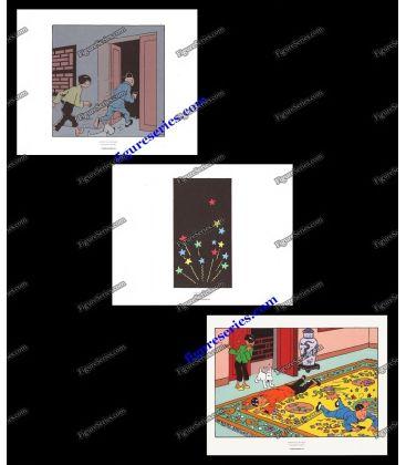 Triptyque de 3 ex libris TINTIN le Lotus Bleu